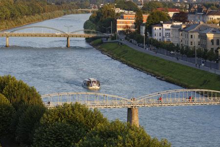Austria,Salzburg,View Of Salzach River,Mozartsteg Bridge And Karolinenbrucke Bridge
