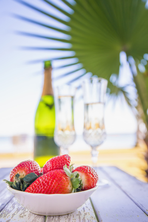 Usa,Texas,Bowl Of Strawberries And Champagne On Beach With Palm Tree LANG_EVOIMAGES