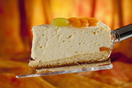 Mandarin Cream Cake On Cake Server,Close Up