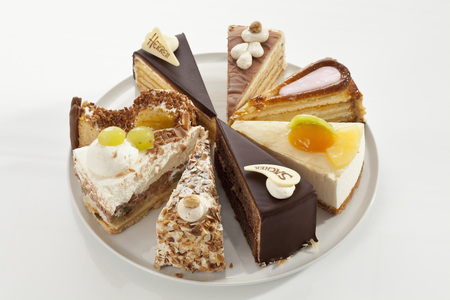 Variety Of Cakes On Plate,Close Up LANG_EVOIMAGES