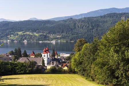 Austria, Carinthia, View Of Millstatter See And Millstatt Abbey