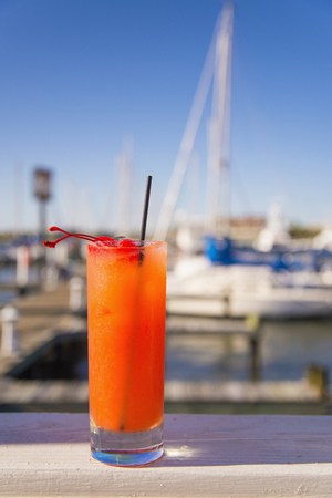 Usa,Texas,Rockport,Cherry Cocktail In Glass LANG_EVOIMAGES