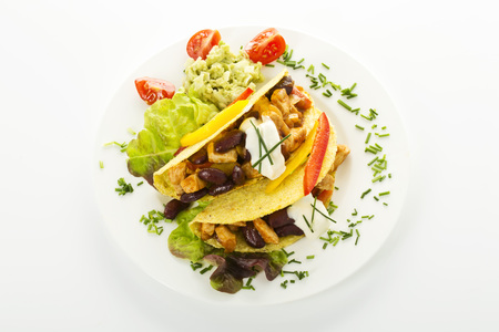 Tacos With Chicken On Plate,Close Up