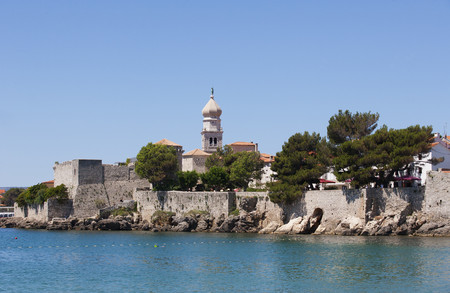 Croatia, View Of Krk With Frankopan Castle In Background