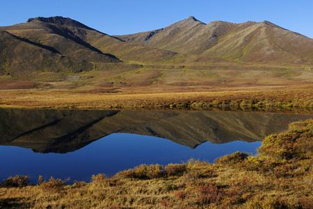Canada, View Of Lake In Tundra Landscape At Tombstone Territorial Park