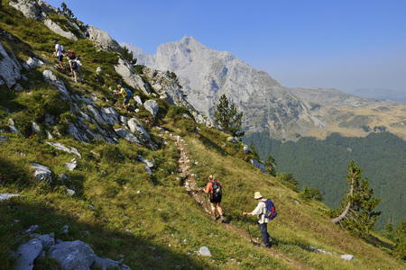 Europe, Montenegro, Group Of Hikers Hiking On Komovi Mountains LANG_EVOIMAGES