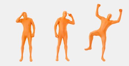 Men In Orange Zentai Standing On White Background