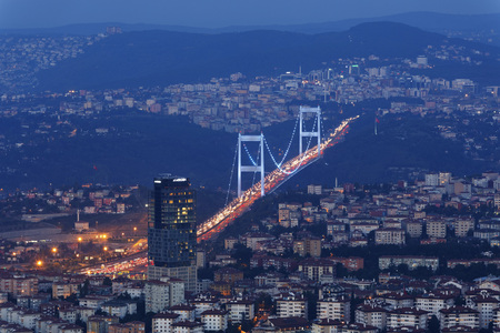 Europe,Turkey,Istanbul,View Of Financial District With Fatih Sultan Mehmet Bridge LANG_EVOIMAGES