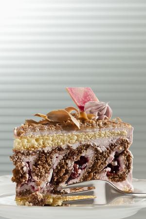 Slice Of Cream Cake On Plate,Close Up
