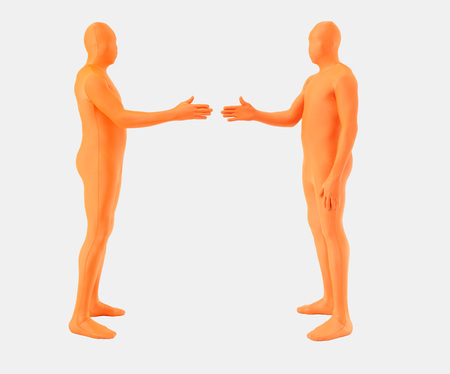 Men In Zentai Shaking Hands On White Background