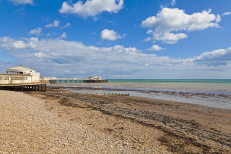 England, Sussex, View Of Beach At Worthing Pier LANG_EVOIMAGES