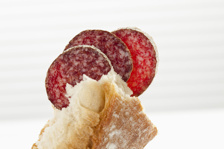 Slice Of Hungarian Salami With White Bread, Close Up