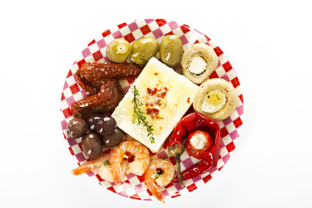 Various Antipasti Filled With Cheese On Plate, Close Up