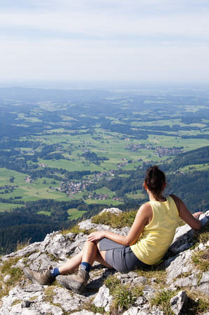 Germany, Bavaria, Mid Adult Woman Looking From Breitenstein LANG_EVOIMAGES