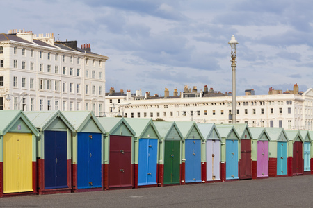 England, Sussex, Brighton, Coloured Bathing Huts At Seafront