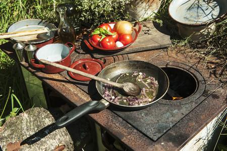 Austria, Salzburg Country, Preparing Food On Stove In Garden