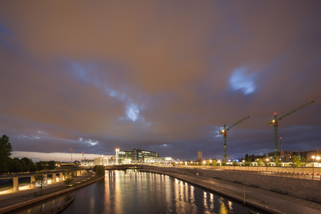 Germany,Berlin,View Of Berlin Central Station Near River Spree At Night