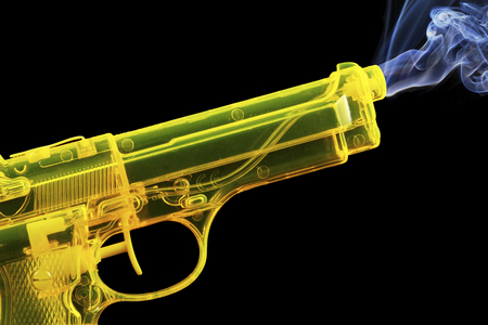 Water Pistol Producing Steam Against Black Background,Close Up