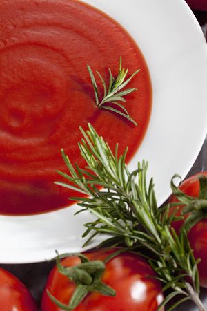 Plate With Tomato Sauce And Vine Tomatoes And Rosemary LANG_EVOIMAGES