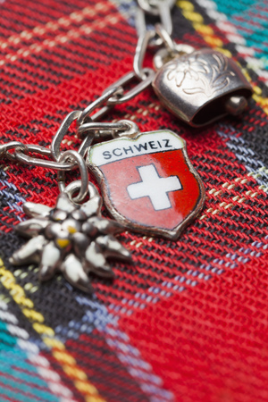Switzerland,Swiss Flag On Charm Bracelet With Cow Bell And Edelweiss