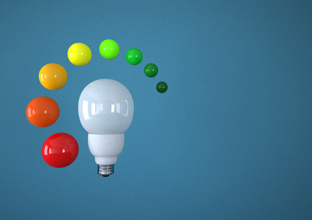 Illustration Of Eco Bulb With Energy Efficiency Scale,Close Up
