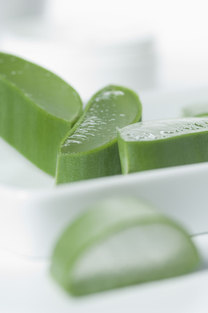Sliced Aloe Vera On Tray,Close-Up