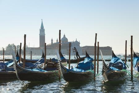 Italy,Venice,Gondolas Docking At St Marks Square