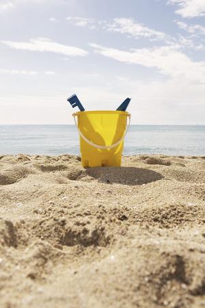 Spain,Bucket With Shovel By Beach At Palma De Mallorca LANG_EVOIMAGES