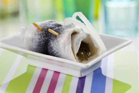 Pickled Herring In Bowl,Close Up