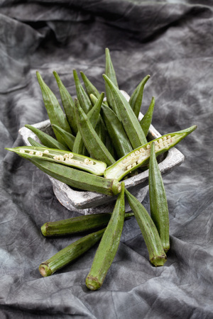 Okra Beans On Textile,Close Up