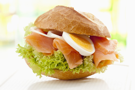 Bread Roll With Smoked Salmon,Egg And Onions,Close Up LANG_EVOIMAGES