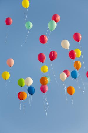 Germany,Bavaria,Variety Of Balloons Flying In Sky