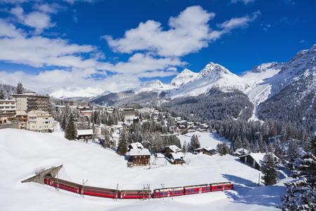 Switzerland,Rhaetian Railway Passing Through Snow LANG_EVOIMAGES