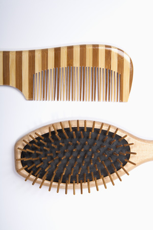 Hair Comb And Brush On White Background,Close Up