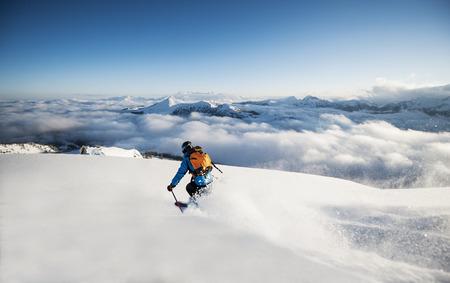 Austria,Salzburg,Mid Adult Man Skiing In Mountain Of Altenmarkt Zauchensee