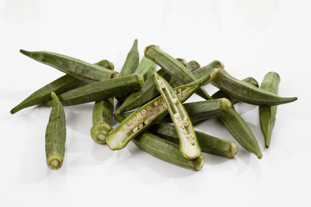 Okra Beans On White Background,Close Up