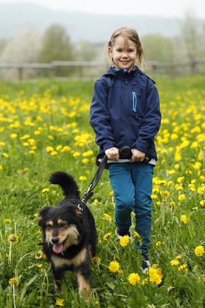 Germany,Baden Wuerttemberg,Portrait of girl walking with dog in meadow