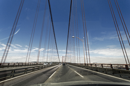 Portugal,Lisbon,Setubal,View of 25 de Abril Bridge