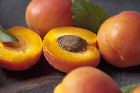 Apricots with leaves,close up