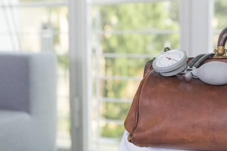 Germany,Freiburg,Doctors case with blood pressure gauge