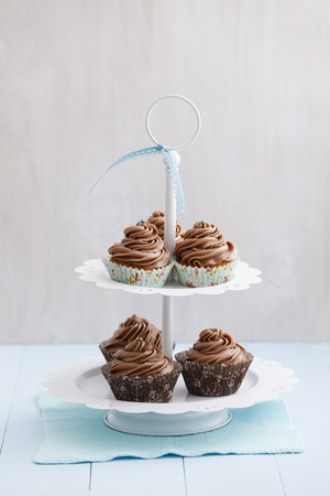 Cupcakes topped with chocolate buttercream on cake stand,close up LANG_EVOIMAGES
