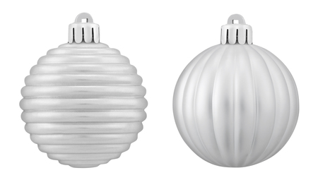 Two silver christmas bauble against white background,close up