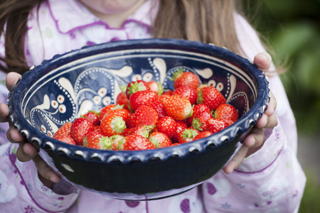 Germany,North Rhine Westphalia,Cologne,Girl holding bowl of strawberries,close up