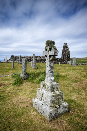 United Kingdom,Scotland,View of old Stonecross with chapel ruin in background LANG_EVOIMAGES