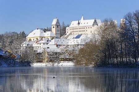 Germany,Bavaria,View of St. Mang church near Lech river