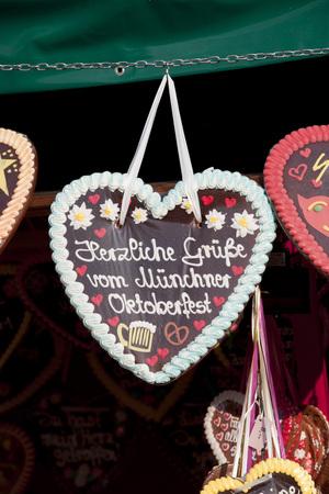 Germany,Bavaria,Munich,Decorated gingerbread hearts on Oktoberfest