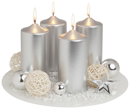 Advent wreath in silver on white background,close up