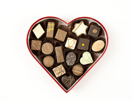 Pralines chocolate in heart packaging for Valentines day