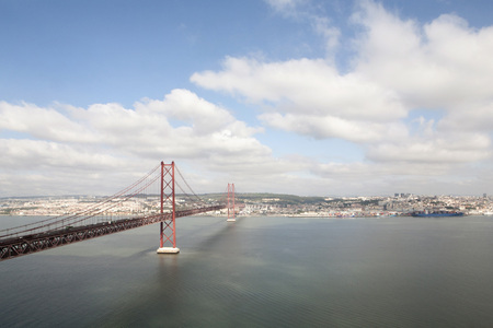 Portugal,Lisbon,View of 25 de Abril Bridge near Tajo river