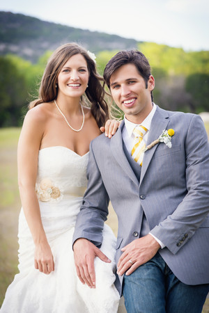 USA,Texas,Portrait of Bride and groom,smiling